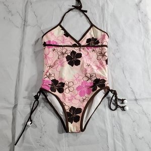 Amy Byer Size 12 One Piece Halter Swimsuit